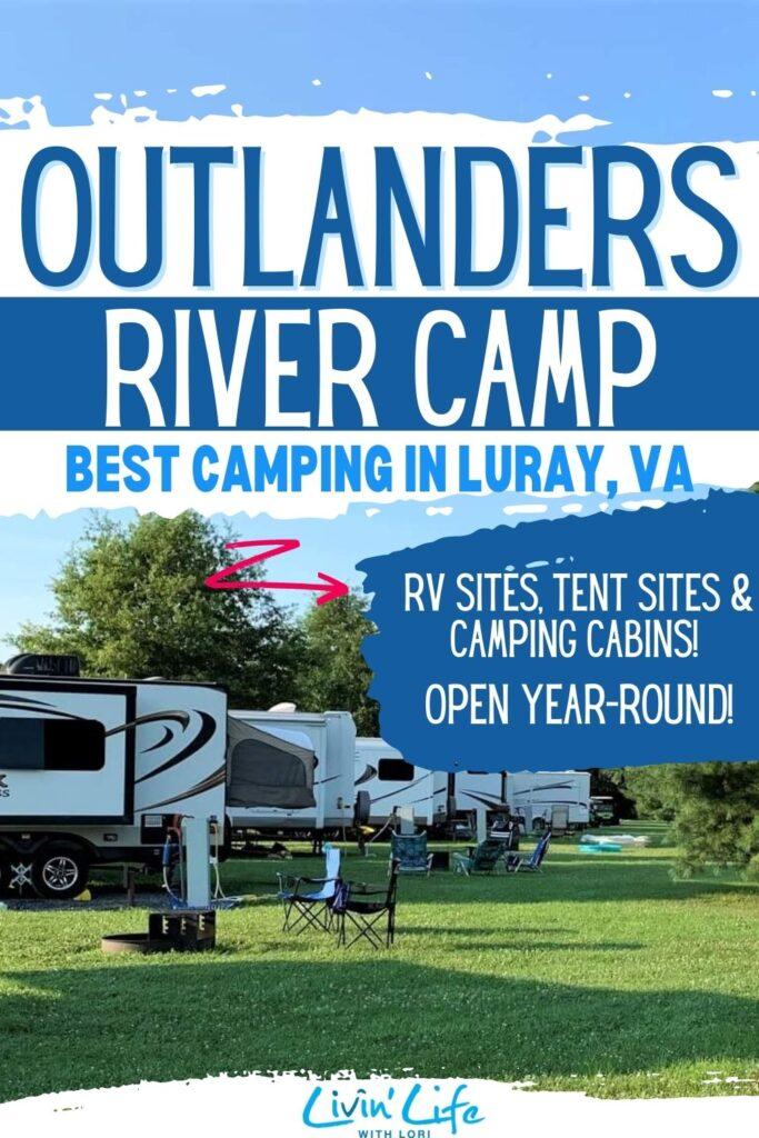 RV camping at Outlanders River Camp Luray VA