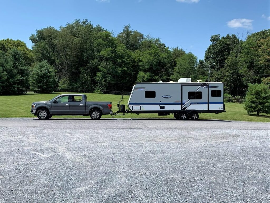 Jayco travel trailer at check in to Outlanders River Camp