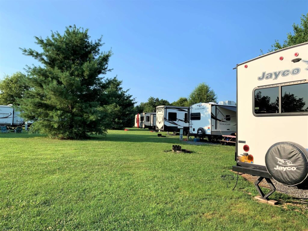 back in rv site at Outlanders River Camp