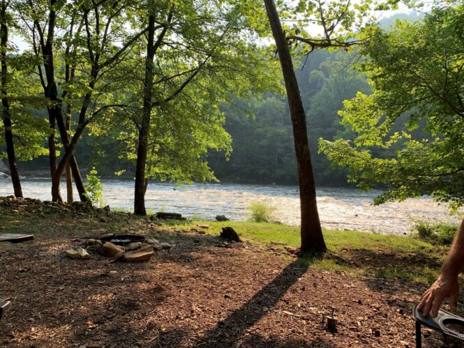 Camping by the Nolichucky River Tennessee
