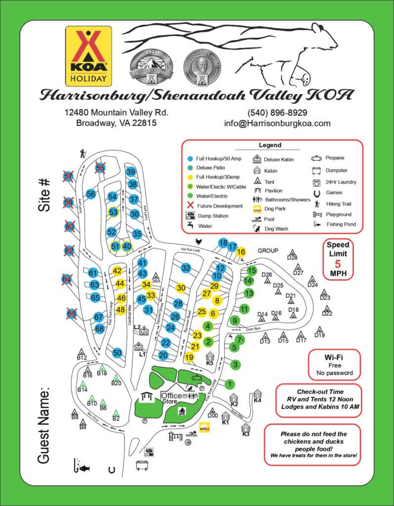 Harrisonburg Shenandoah Valley Campground Map